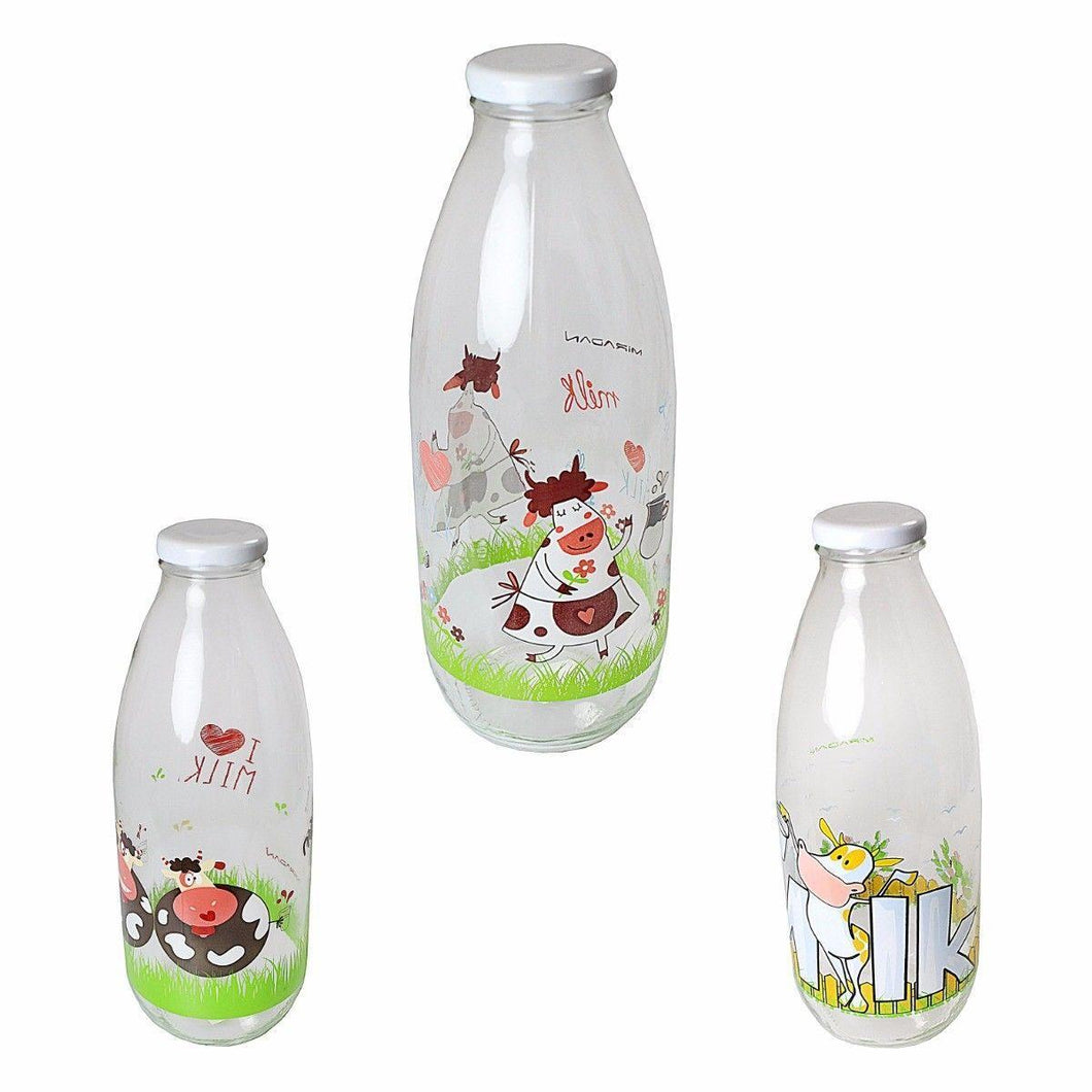 Clear Glass Decorated Fancy Milk Bottle With Plastic Lid 100cl M329 (Parcel Rate)