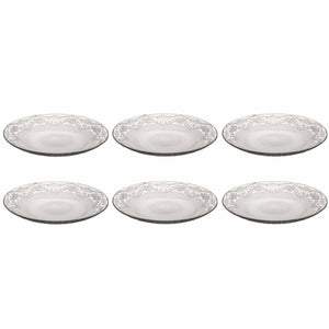 Pasabahce Lacy Set Of 6 Clear Glass Plates Ideal For Service 16cm 2975 (Parcel Rate)