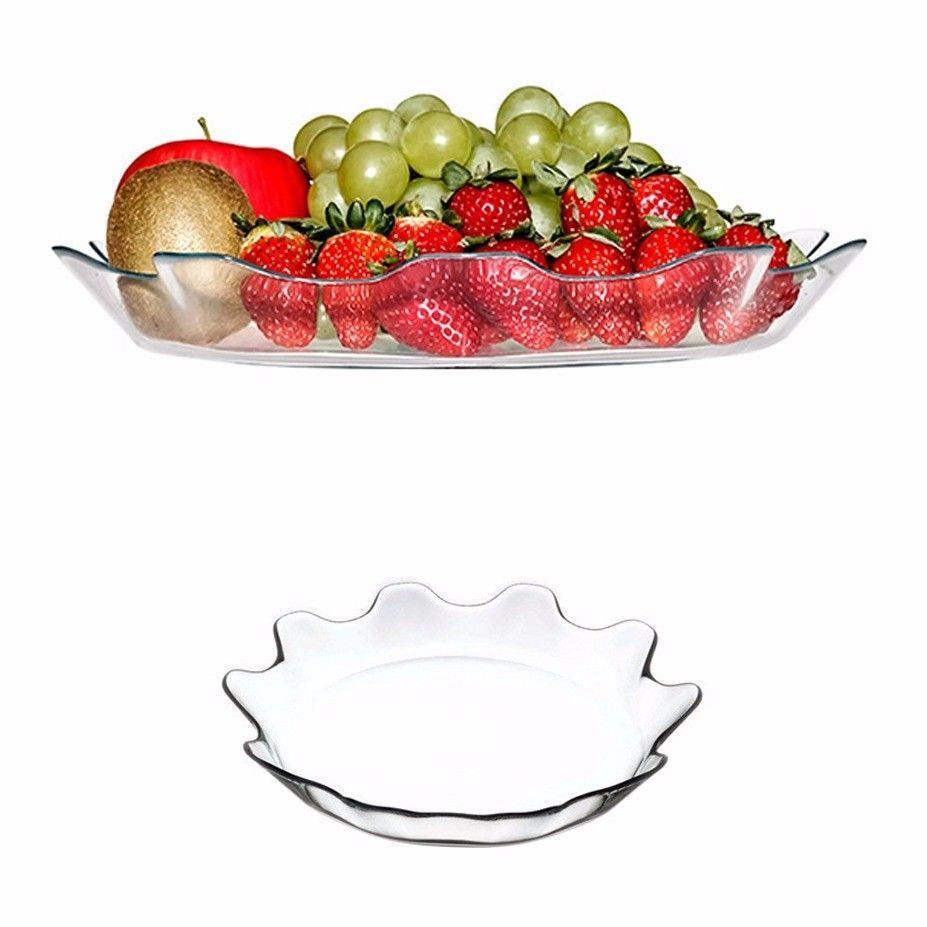 Patisserie Round Fancy Glass Plate 31cm 10442 (Parcel Rate)