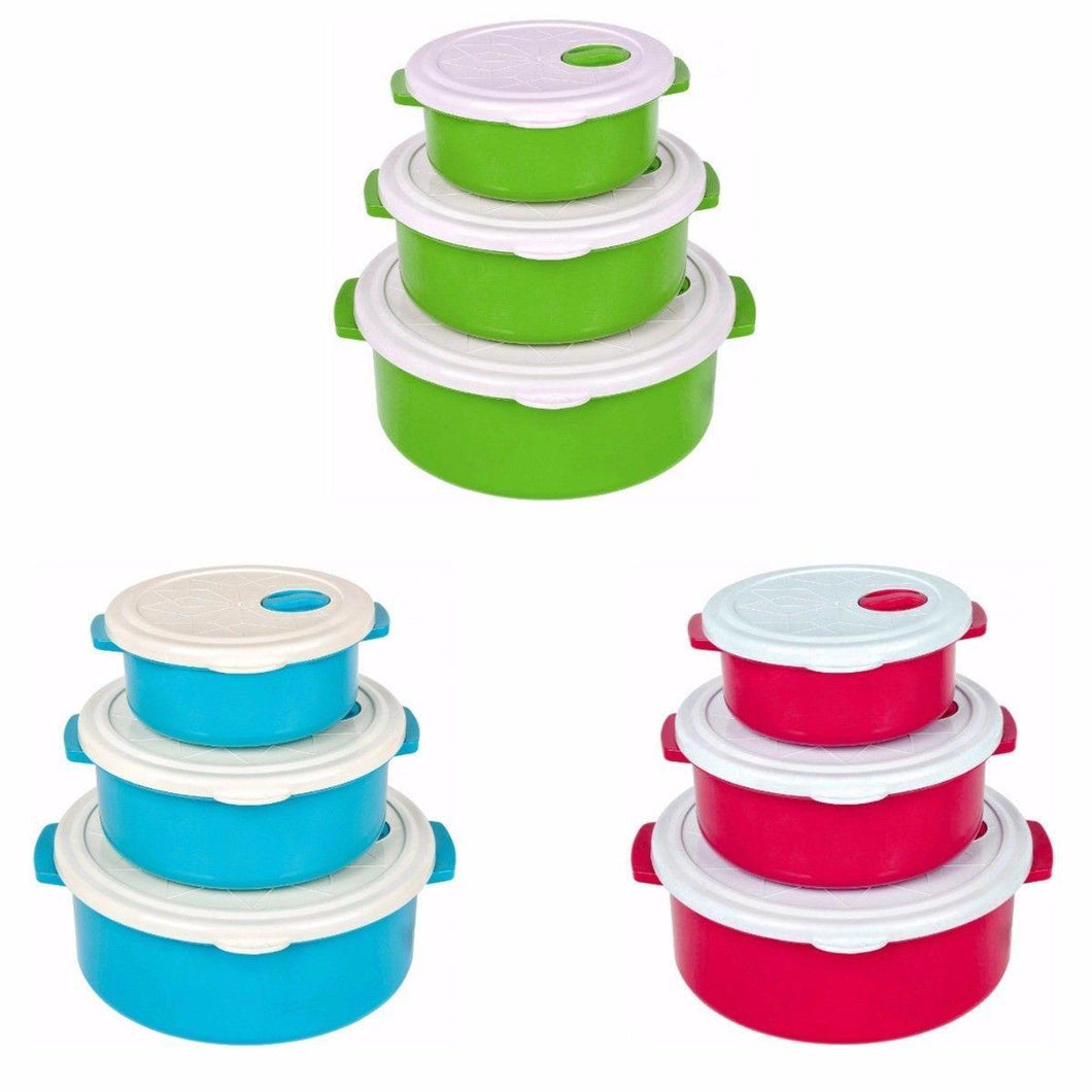 Durable Airtight Set Of 3 Stackable Handled Kitchen Containers 9421 (Parcel Rate)
