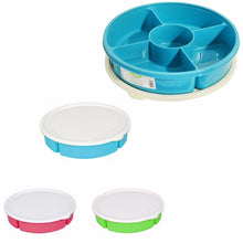 Load image into Gallery viewer, Plastic Multi 5 Section Snack Chip & Dip Bowl Platter With Airtight Lid  9394 (Parcel Rate)