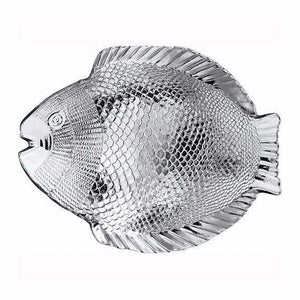Marine Clear Glass Fish Style Shaped Fancy Small Service Plate 20cm x 16cm  10256 (Parcel Rate)