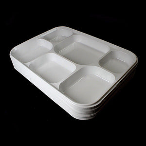 25 Pack White Multi 6 Compartment Disposable Plates Weddings Thali Catering 1157 (Parcel Rate)