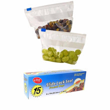 Load image into Gallery viewer, Pack Of 15 Slide Lock Seal Freezer Bags 20.3cm x 17.8cm Home Kitchen 0176 (Parcel Rate)