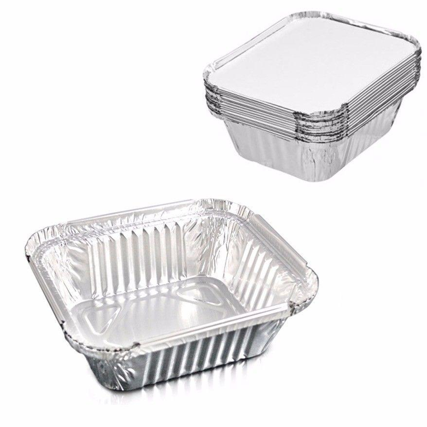 Pack Of 9 Medium Foil Trays With Lids ST7047 (Parcel Rate)