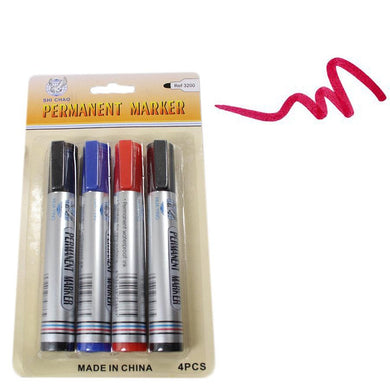 4 Pack Assorted Permanent Marker Pens 1732 (Large Letter Rate)