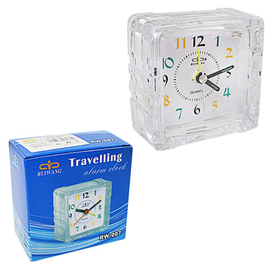 Small Mini Travel Office Square Quartz Bedside Desk Travelling Beep Alarm Clock 3075 (Parcel Rate)