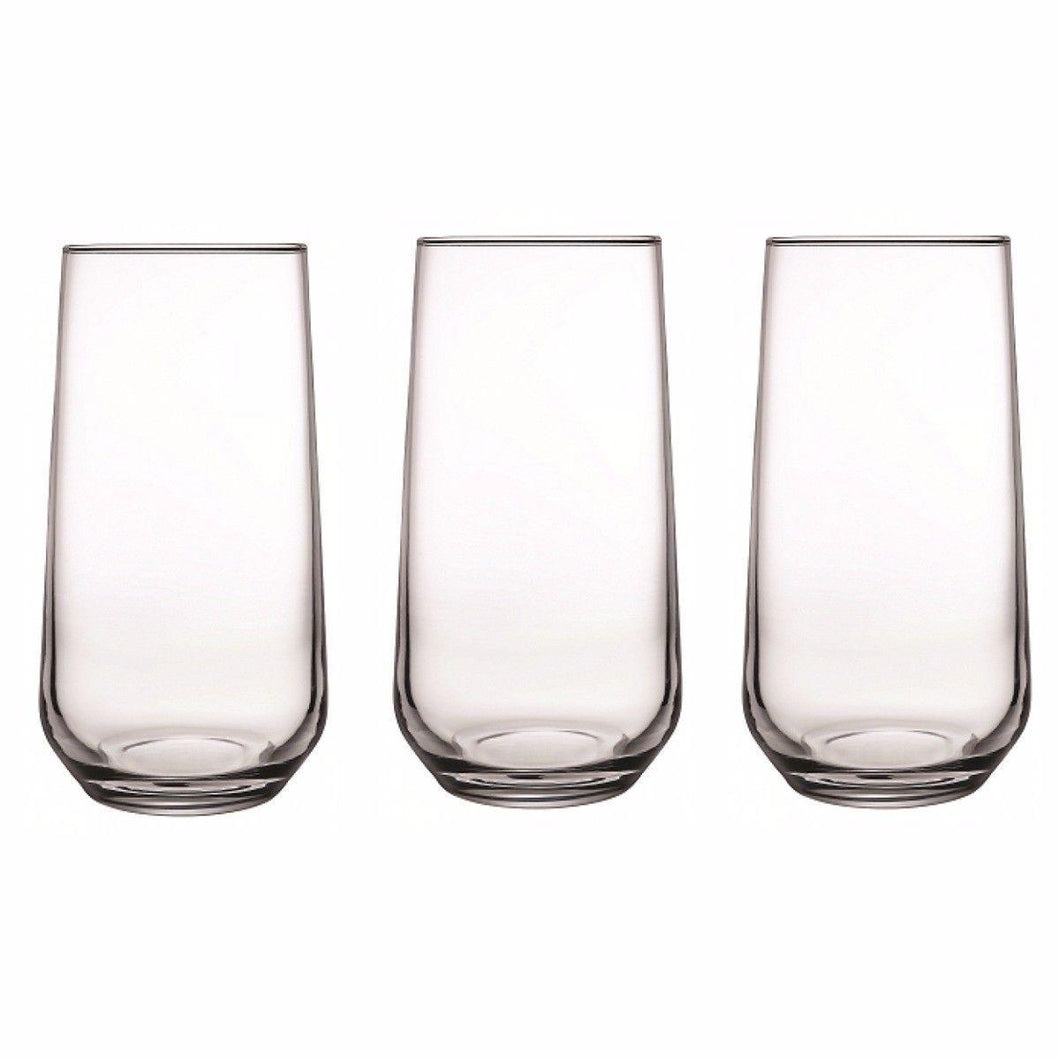 Set Of 3 Allegra Long Glasses 470ml Home kitchen Glassware 5726 (Parcel Rate)