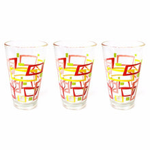 Load image into Gallery viewer, Glass Tumbler Set 3pc ( Window ) Red and Yellow  0826 (Parcel Rate)
