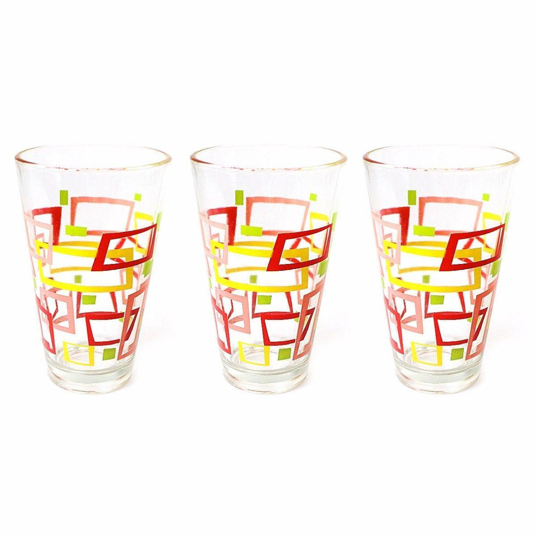 Glass Tumbler Set 3pc ( Window ) Red and Yellow  0826 (Parcel Rate)