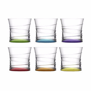 6pc Coral Ring 320cc  10 3/4 oz Glasses  0101 (Parcel Rate)