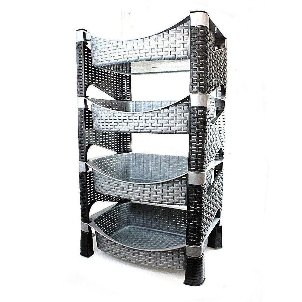 4 Tier High Quality Rattan Food Rack 2.7 x 5.1 Ft Kitchen  0740 (Big Parcel Rate)