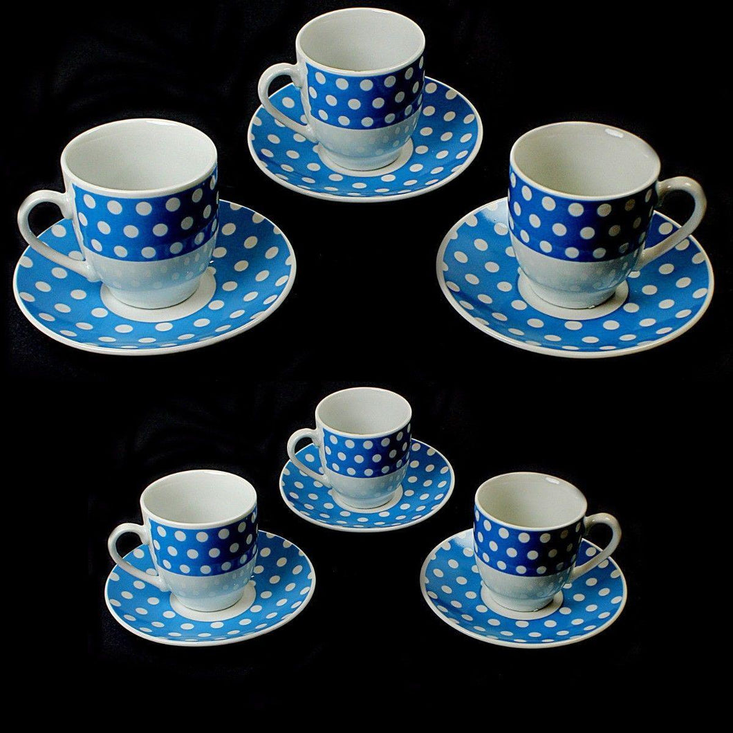 Spotted Blue White Tea Coffee Cups And Saucers Kitchen Home  3426 (Parcel Rate)
