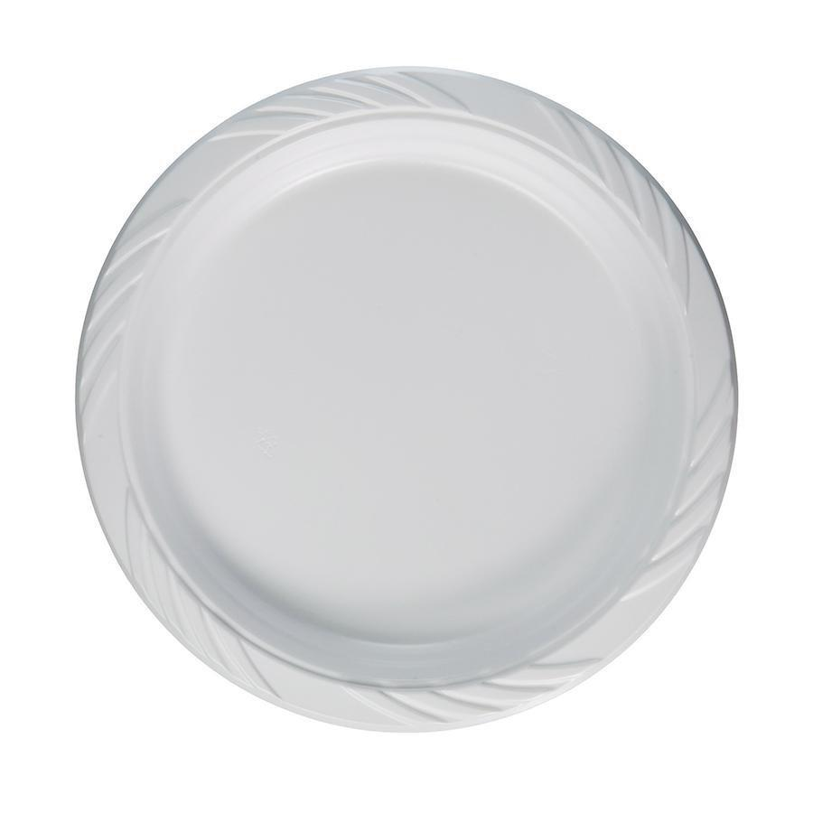 50 Pack Disposable Plastic White Special Occasion Party Plates 23cm CD642 (Parcel Rate)