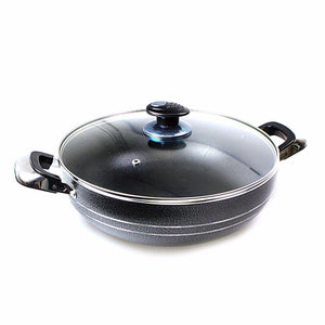 Non Stick Wok Two Handle With Lid (32cm) For Kitchen Everyday Use  0218 (Parcel Rate)