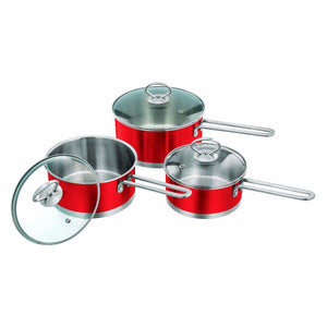 3 Piece Set Metallic Saucepan Set Ruby 2283 (Big Parcel Rate)