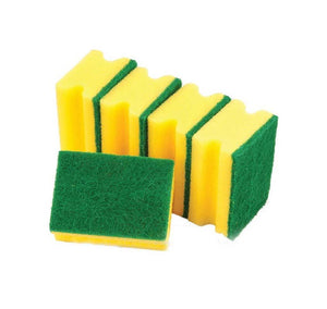 Yellow Accord Grooved Sponge Perfect Clean Washing Up Sponge 5 Pack 9 x 4cm STR521 (Parcel Rate)