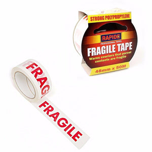 Fragile Handle With Care Printed Glass Parcel Packaging Tape  48mm x 50m 9864 (Parcel Rate)