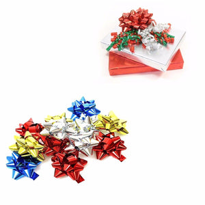 10 Pack Assorted Colour Christmas Ribbon Present Stickers   2713 (Parcel Rate)