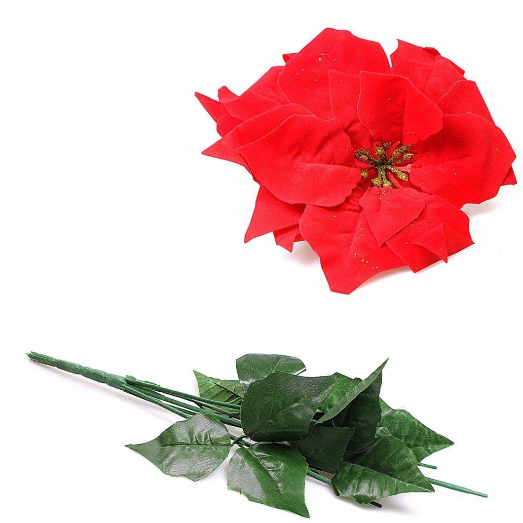 Red Floral Poinsetta Novelty Christmas Party Household Decor 2 Pack 1239 (Parcel Rate)