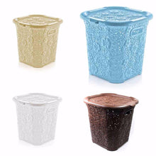 Load image into Gallery viewer, 15 Litre Plastic Laced Design Basket With Lid Assorted Colour 5117 (Parcel Rate)