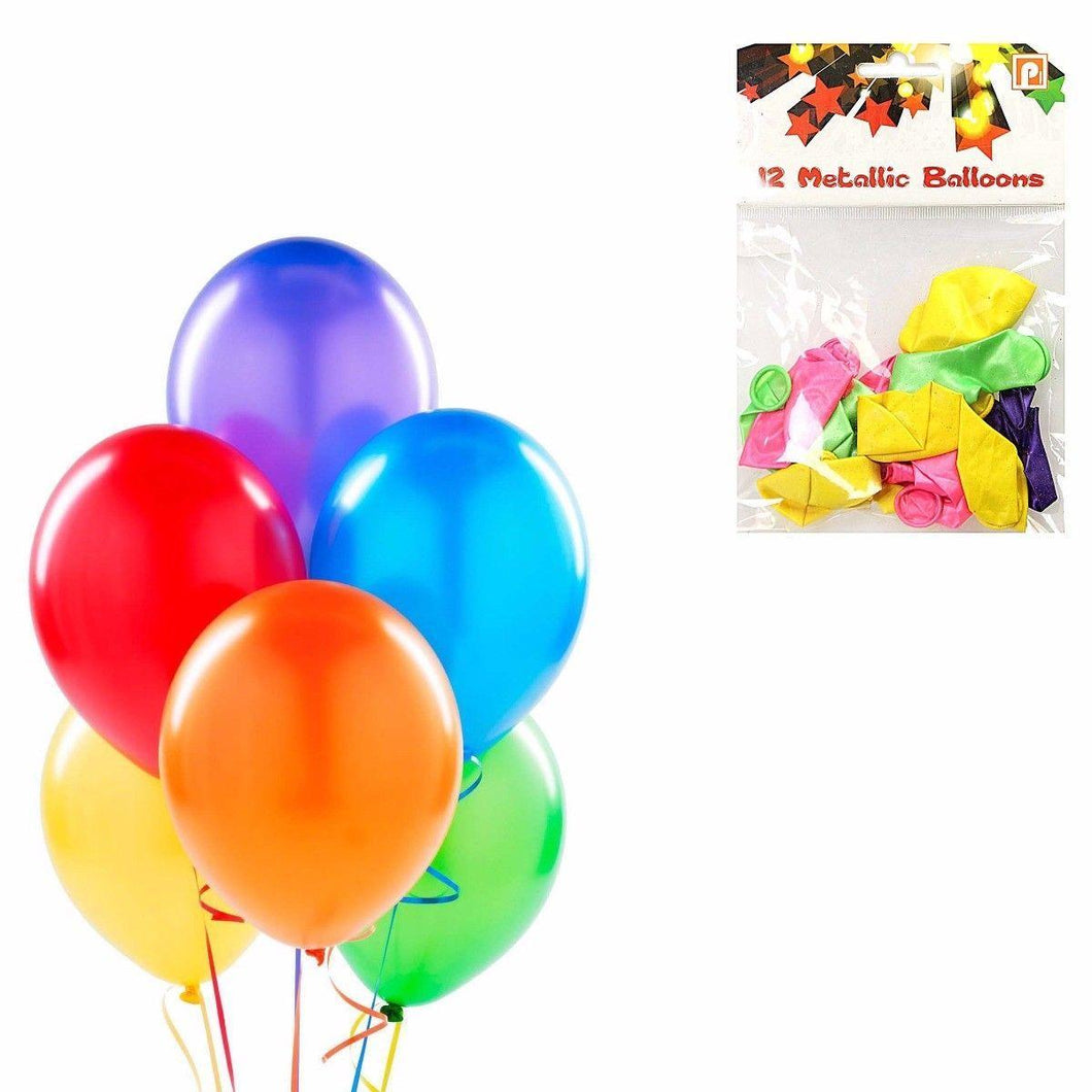 12 Pack Metallic Birthday Party Balloons Assorted Colours 8945 (Large Letter Rate)