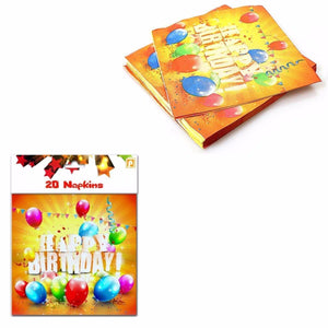 Pack Of 20 Napkins Childrens Happy Birthday With Balloons Design 4057 Home  (Parcel Rate)