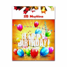 Load image into Gallery viewer, Pack Of 20 Napkins Childrens Happy Birthday With Balloons Design 4057 Home  (Parcel Rate)