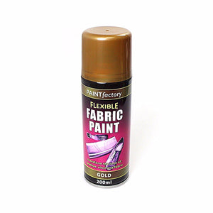 Paint Factory Flexible GOLD Fabric Spray Paint Leather Vinyl Art & Craft 200ml 5106 (Parcel Rate)