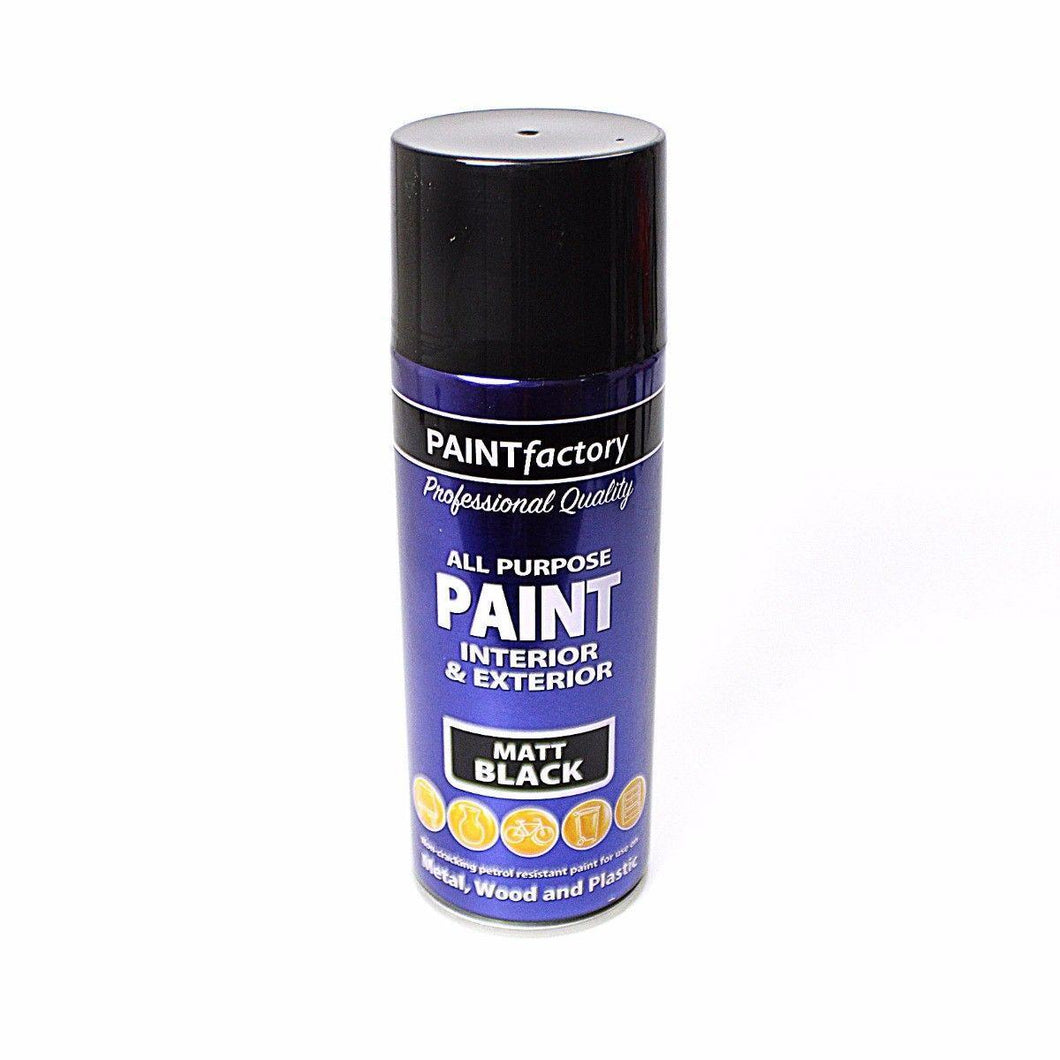 400ml All Purpose MATT BLACK Aerosol Spray Paint Can Household Car Plastic 1733 (Parcel Rate)