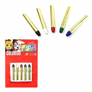 5 PK ASSORTED COLOUR CHILDREN FACE CRAYONS 3002 (Large Letter Rate)