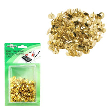 Load image into Gallery viewer, 300 Pack Art And Crafts Golden Pins In Plastic Case Multipurpose Use Display Pins  2876 (Large Letter Rate)