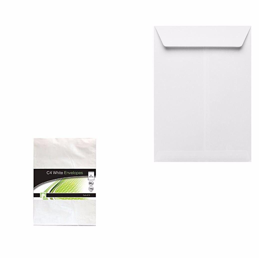 C4 White Envelopes Office Supplies Home Peel And Seal Envelopes  P2212 (Large Letter Rate)