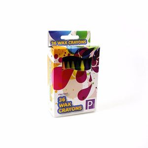 Childrens 36 Wax Crayons In Assorted Colours P2386 (Parcel Rate)