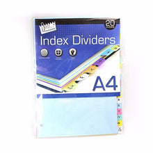 Load image into Gallery viewer, 20 A4 Index Dividers In Assorted Colours Stationery 4059 (Large Letter Rate)