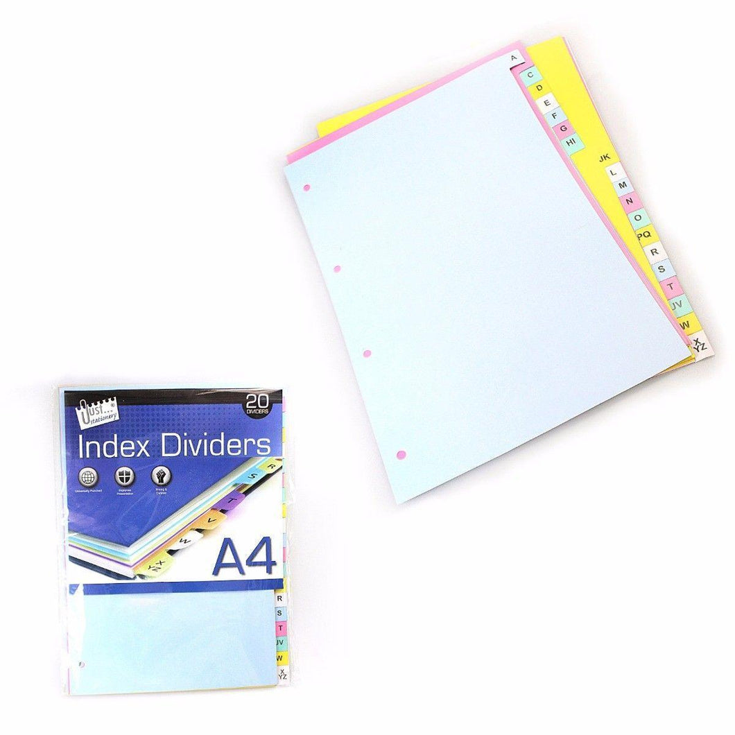 20 A4 Index Dividers In Assorted Colours Stationery 4059 (Large Letter Rate)