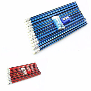 Childrens 12 Pack Pencils Rubber Sharpener Set Available In Red And Blue 1546 (Large Letter Rate)
