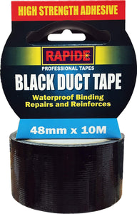 Rapide High Strength Adhesive Black Duct Tape Waterproof 48mm x 10m 5809 (Parcel Rate)