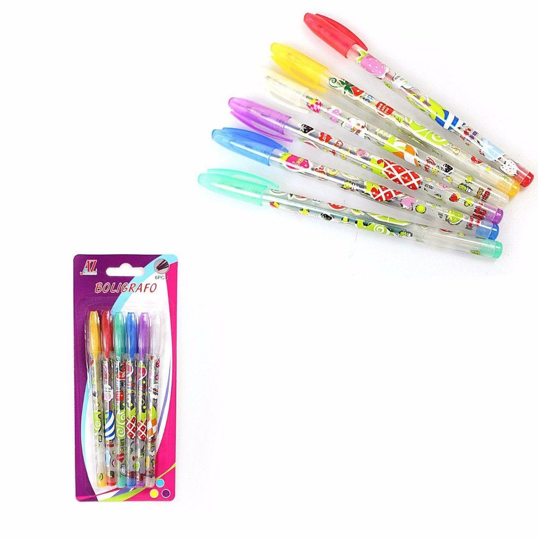 COLOURFUL CHILDRENS 6 PACK GEL PENS   3107 (Large Letter Rate)
