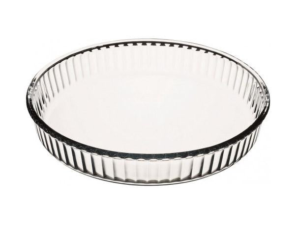 Borcam Fluted Round Flan Cheesecake Dish GLASS Round 1.72 Litres 59044 (Parcel Rate)