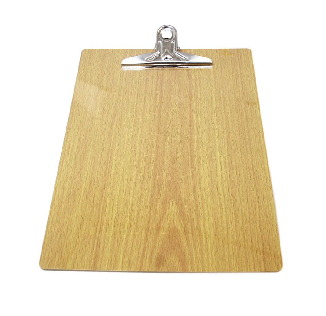 A4 Wooden Paper Menu Clipboard School Office Chrome Clip 31cm x 23cm 5926 (Large Letter Rate)