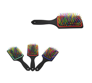 1 Frizzly Hair Brush Mens Ladies Tangle Free Multicoloured Hair Brush 24cm x 8cm 5943 (Parcel Rate)