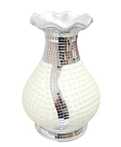 Fancy Mirrored White Pearl Ceramic Centerpiece Vase Ideal Decor 23cm 5969 (Parcel Rate)