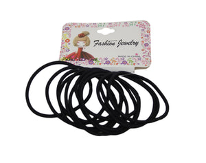 12 Piece Black Hair Elastic Bobbles Bands Kids Girls School Ponies Ties 5978 (Large Letter Rate)