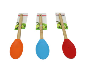 Silicone Kitchen Wooden Large Spoon Stirrer Kitchenware Assorted Colour 32cm x 1 D6065 (Large Letter Rate)