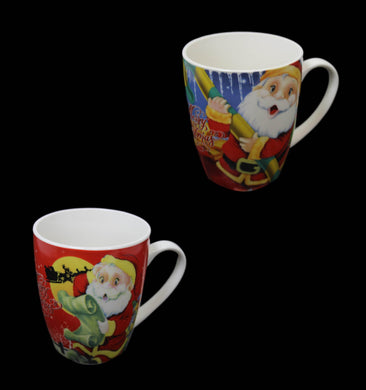 Christmas Festive Coffee Tea Cups Ceramic Xmas Santa  Drinking Cups 2 Designs 10 x 8cm61022 (Parcel Rate)