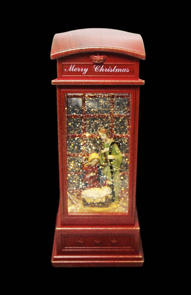 Festive Telephone Box Glitter Shake Baby Jesus Cradle Home Christmas Decoration 25cm 6106