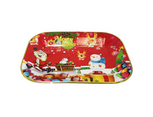 Load image into Gallery viewer, Christmas Festive Serving Tray Xmas Santa Plastic Serving Gold Rim Tray 43 x 30cm 6117 (Parcel Rate)