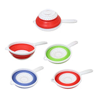 Silicone Plastic Kitchen Collapsible COLANDER STRAINER 3 Colours 2 in 1 Strainer 6208