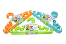Load image into Gallery viewer, Childrens Toddlers Plastic Assorted Colour Wardrobe Hangers Easy Hanging Clothes 5 Pack  6224 (Parcel Rate)